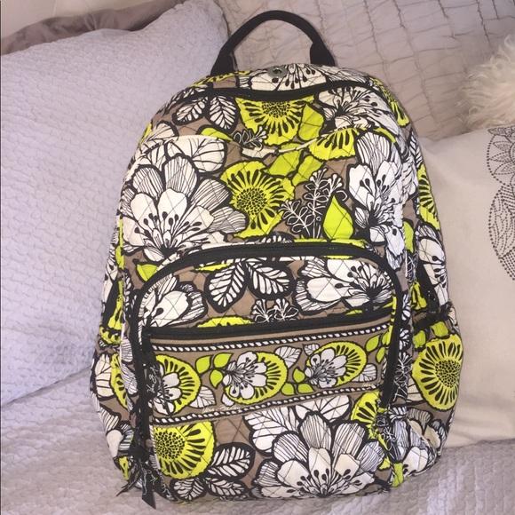 173374d47582 Vera Bradley Baroque Black Yellow Cotton Backpack